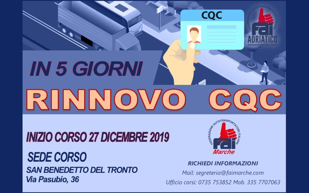 CORSO RINNOVO CQC – INIZIO 27 DICEMBRE 2019
